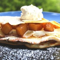 Crepes with Caramel Apples and Whipped Cream