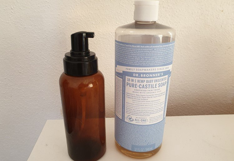 Bottles of DIY foaming handwash