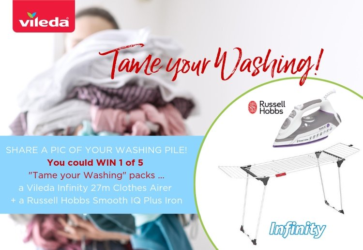 woman with huge pile of washing with vileda infinity clothes airer and russell hobbs iron to win