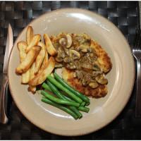 Golden Chicken Schnitzels with Mushroom Gravy