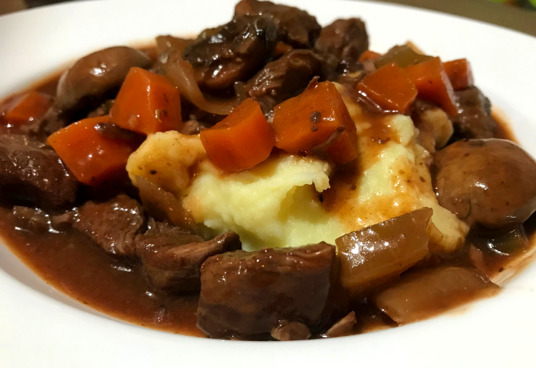 Slow Cooked Beef, Mushroom & Red Wine Stew