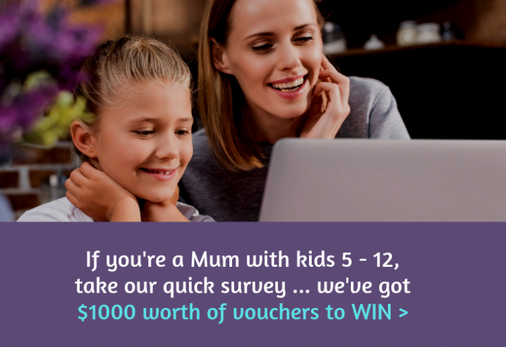 Mum and daughter looking at laptop taking the Mouths of Mums packaging survey
