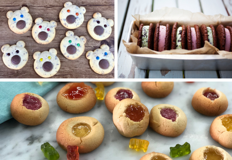 Collage of various cookie images - teddy bear biscuits, cookie sandwiches and gummy bear gum drop cookies