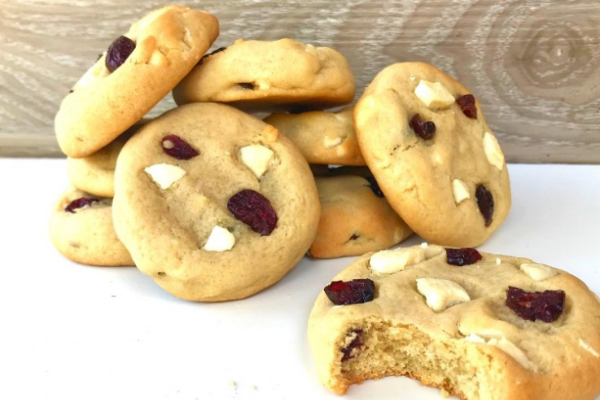 Chewy biscuits containing cranberries and white chocolate chunks baked until lightly brown