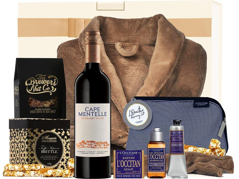 hamper for fathers day includes wine, dressing gown and skincare products