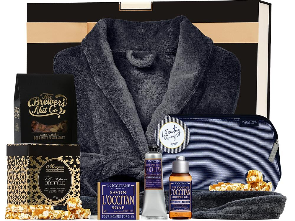 Mens hamper gift idea with dressing gown, skincare and more