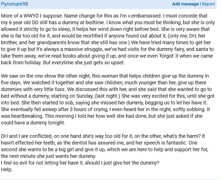 6 year old still has dummy - exerpt from mumsnet