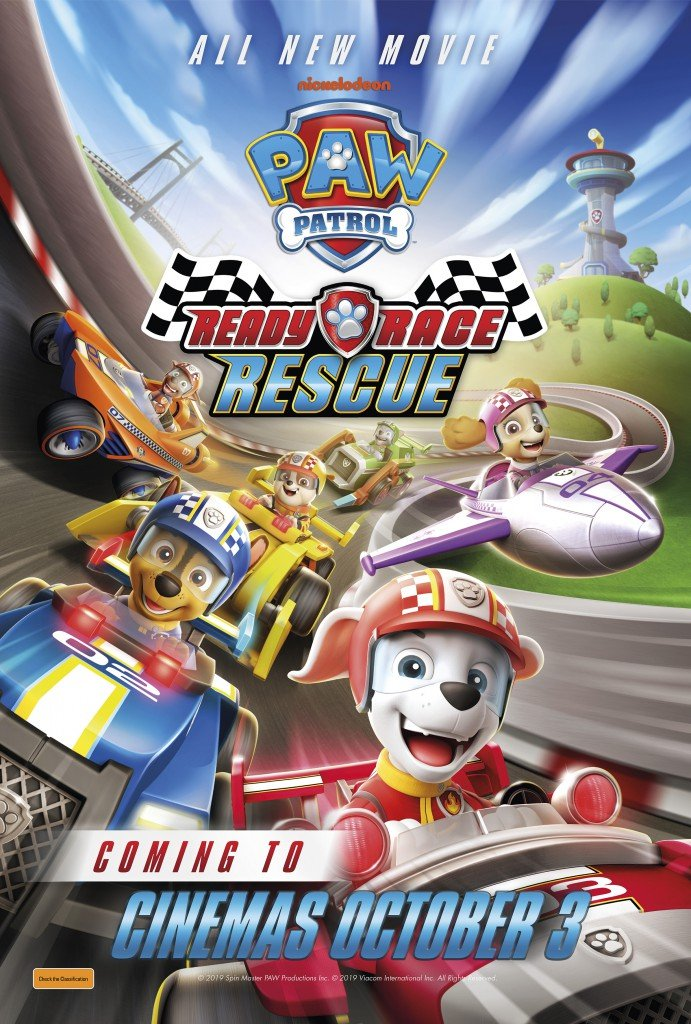 paw patrol dogs, race rescue promotional poster