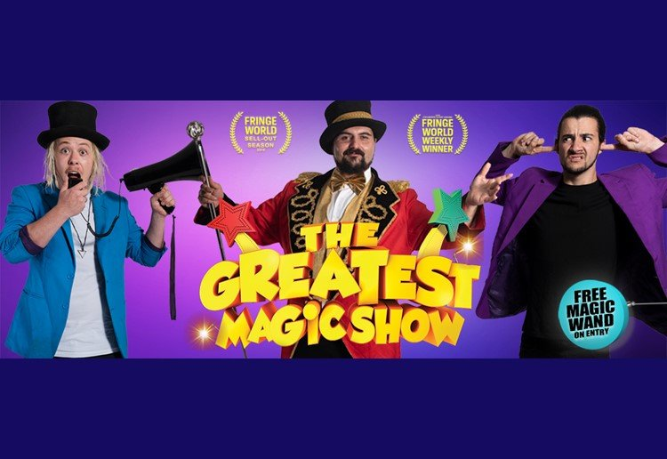 three magicians performing at a circus