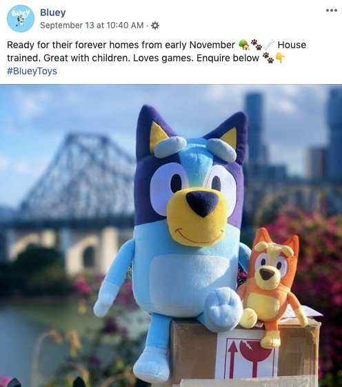 Bluey facebook post announcing launch of Bluey plush toys