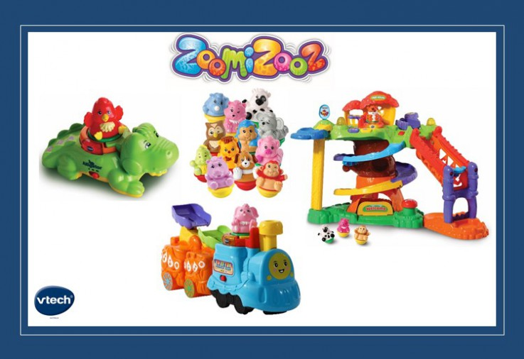 ZoomiZooz toys, colourful toys for preschoolers with the ZoomiZooz logo and VTech logo