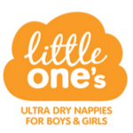 little ones nappies logo in white on an orange cloud