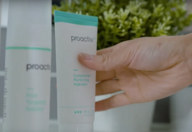 PROACTIV - In bathroom, Hand reaching for bottle of Proactiv+ 3 Step System