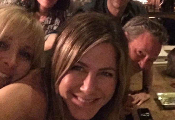 A close up photo of Jennifer Aniston and her friends cast
