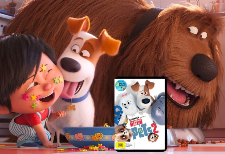 characters from secret life of pets 2 with front cover of DVD