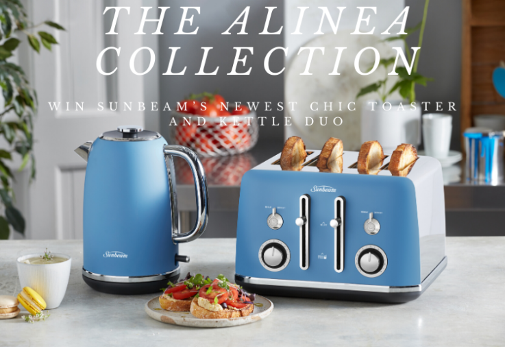 Sunbeams Alinea Collection toaster and kettle on benchtop