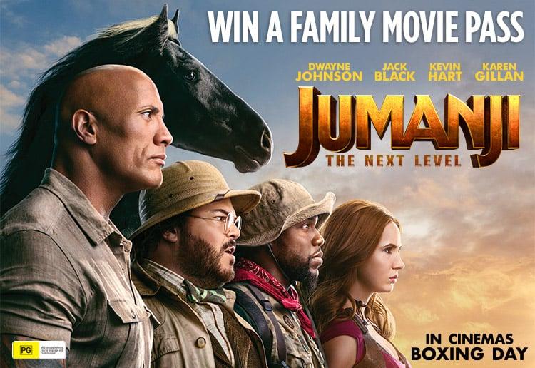 Jumanji Next Level film poster with promotional copy