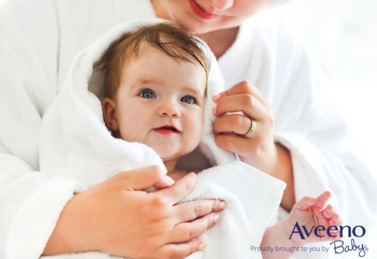 setting up a baby bath routine with Aveeno baby dermexa wash