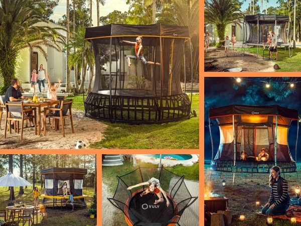 Collage showing various Vuly Trampolines