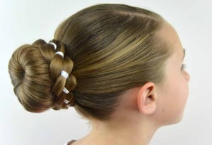 Hairstyles for school ribbon braid wrapped sock bun
