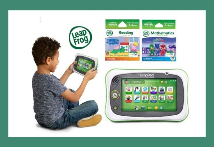 A child playing with his LeapPad from LeapFrog