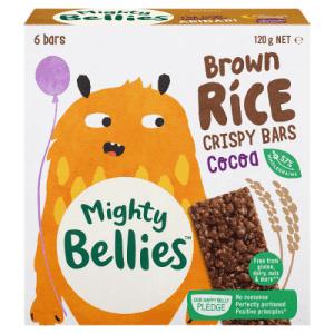 image of MightyBelliesBrownRiceCrispyBarsin Cocoa