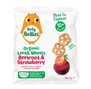 image of Baby Bellies Organic Beetroot and Strawberry Lentil Wheels