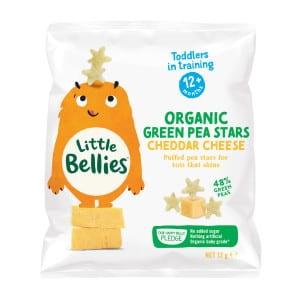 image of little bellies organic cheddar cheese green pea stars