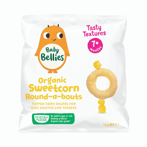 image of Baby Bellies Organic Sweetcorn Round-a-bouts
