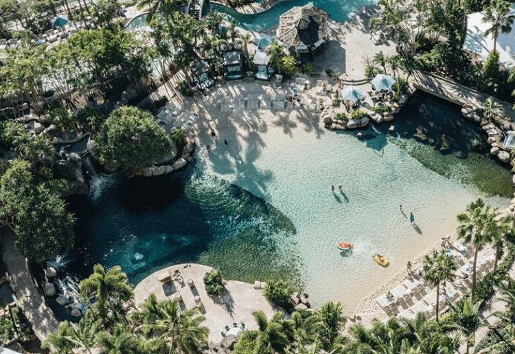 An aerial view of the saltwater lagoon and palm tree-laden relaxation area at the Marriott Resort on the Gold Coast. Pic via: Surfers Paradise Marriott Resort & Spa/Facebook.