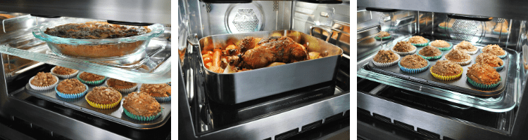 Delicious food cooking in a Kleenmaid Steam Microwave Oven