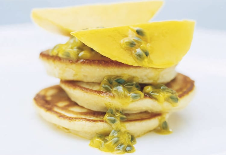 Vanilla Coconut Pancakes With Mango And Passionfruit