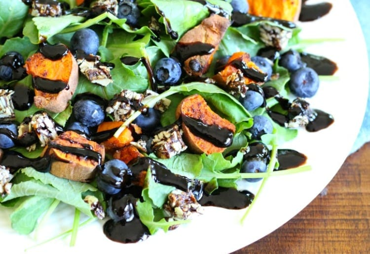 Blueberries & Sweet Potato Salad with Balsamic Reduction