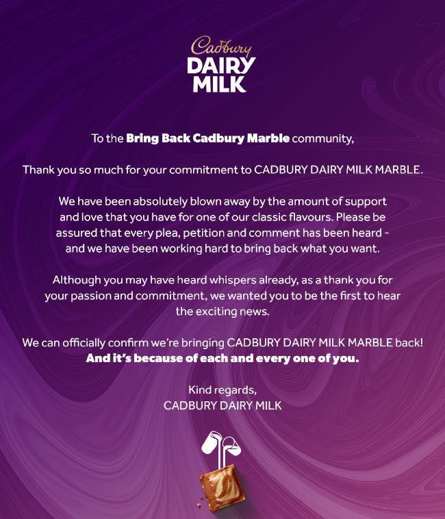 cadbury marble official confirmation