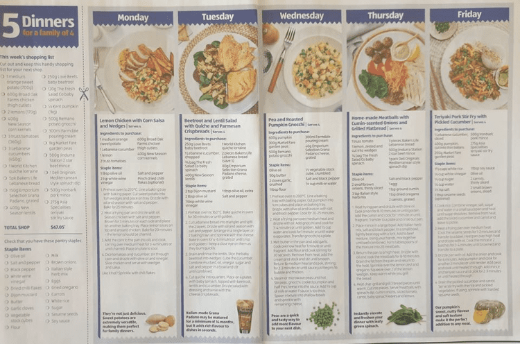 aldi meal plans in aldi catalogue
