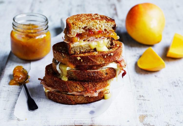 Ham, brie and mango chutney toasties
