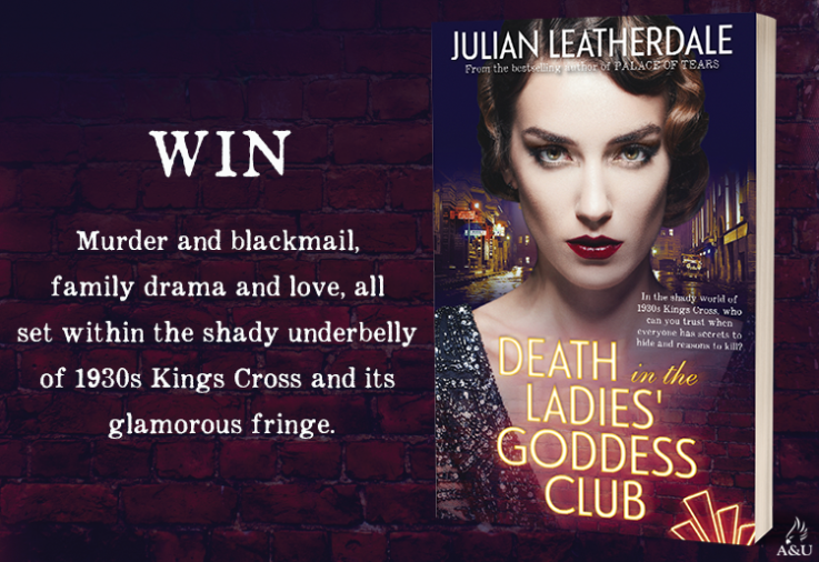 Death in the Ladies' Goddess Club book cover with promotional text