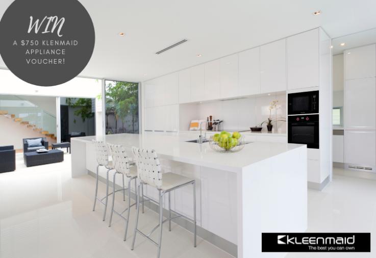 Clean white kitchen with Kleenmaid appliances