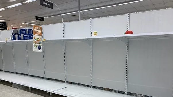 empty-coles shelves due to panic buying