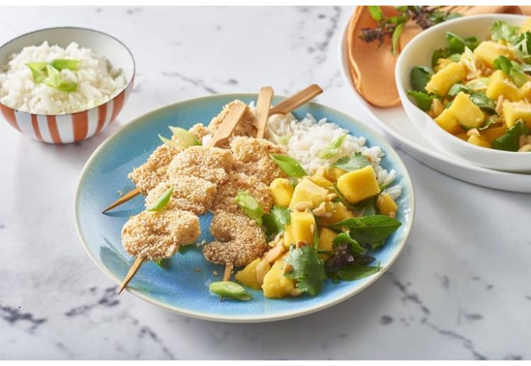 Sesame Prawn Skewers With Asian Mango Salad