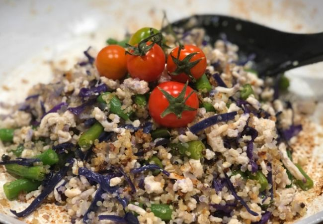Salad Recipes made from quinoa, turkey mince, fetta cheese and various other salad vegetables including cherry tomatoes