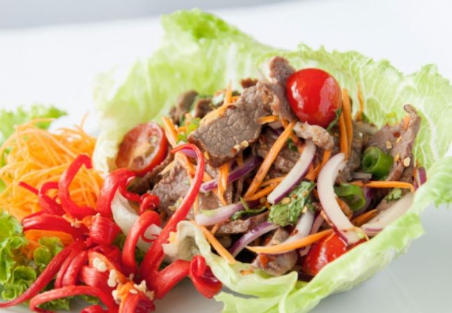 Salad Recipes for Thai Beef Salad with is beef cooked with chilli and other asian flavours served with crispy lettuce