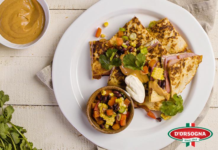 Image of D'Orsogna Honey Mustard Ham & Pulled Chicken Quesadilla Recipe