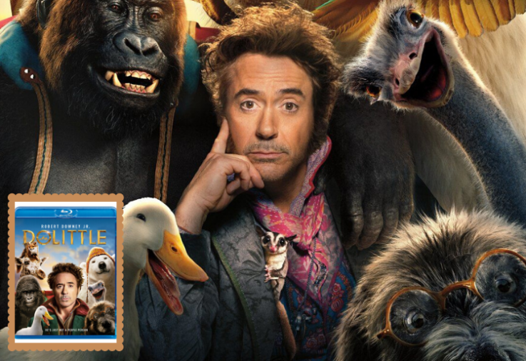 Robert Downey Jnr with animals from the feature film Dolittle