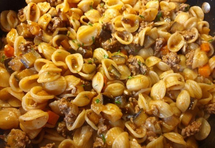 Orecchiette Pasta With Lamb And Eggplant