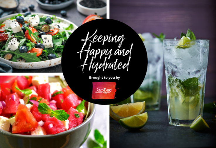 Collage showing Staying Happy And Hydrated At Home A Breeze! sponsored by Zip Water