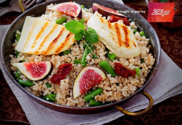 ZIP Sponsorship Main Image Halloumi Couscous and Fig Salad Recipe