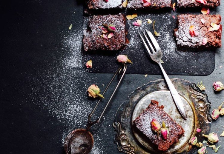 Dark Chocolate Rose Brownies