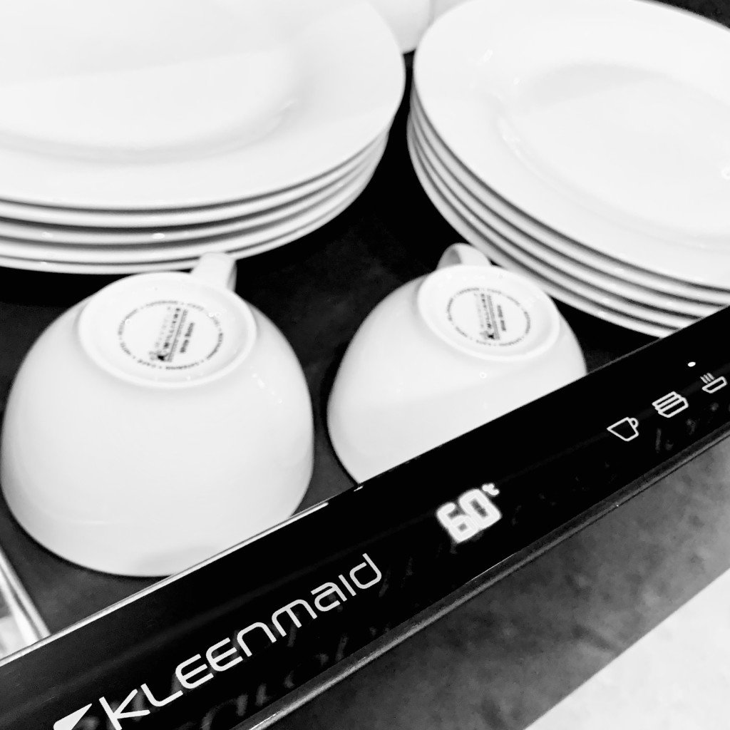 Plates and cups in the Kleenmaid Culinary Drawer