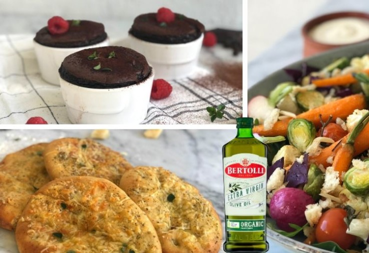 Extra Virgin Olive Oil Organic Recipes including focaccia bread with cheese, chocolate puddings with raspberries, roast vegetable salad